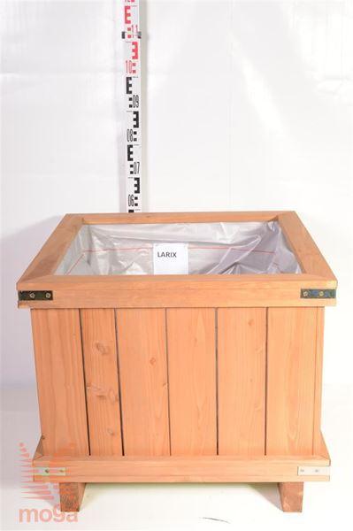Leseno korito - kvadratno  Macesen D: 70 cm x Š: 70 cm x V: 50 cm 